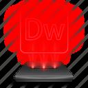 adobe, dreamweaver, hologram, holographic, red icon