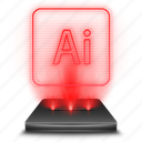 adobe, hologram, illustrator, red icon