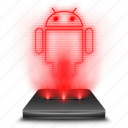 android, hologram, mobile, operating, red, system icon