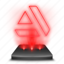 art, holographic, red, social, station icon
