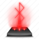 bluetooth, communication, hologram, red, wireless icon