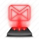 email, gmail, google, hologram, mail, red, work icon