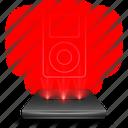 ipad, apple, media, ipod, player, hologram, red