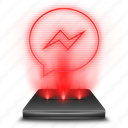 communication, facebook, hologram, messenger, red, social icon