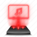 hologram, holographic, music, player, red icon