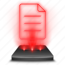 file, hologram, note, red icon