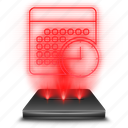 hologram, holographic, notebook, organize, red, schedule, time icon