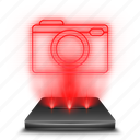 camera, hologram, holographic, photo, pictures, red icon