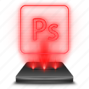 adobe, art, hologram, photoshop, red, tool icon