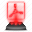 adobe, hologram, holographic, pdf, reader, red icon