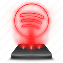 hologram, music, red, spotify, stream icon
