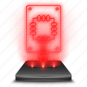disk, hardware, hologram, red, solid, ssd, storage icon