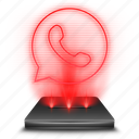 communication, hologram, messenger, red, whatsapp icon