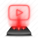 hologram, holographic, red, social, stream, youtube icon