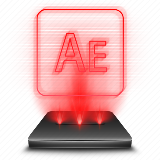 adobe, after, effects, hologram, red icon