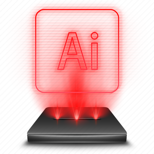 adobe, hologram, holographic, illustrator, red icon