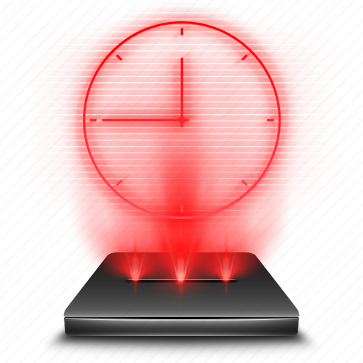 clock, hologram, holographic, red, scheldue, time icon