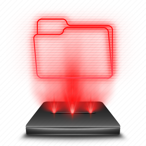 docs, files, hologram, holographic, red, storage icon