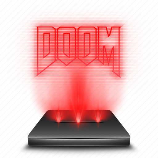doom, game, hologram, red icon
