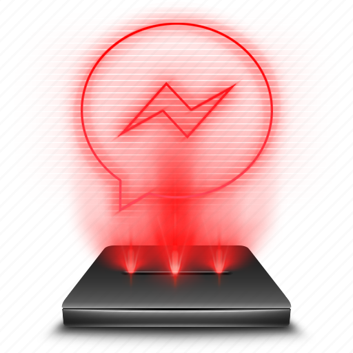 communication, facebook, hologram, holographic, messenger, red, social icon
