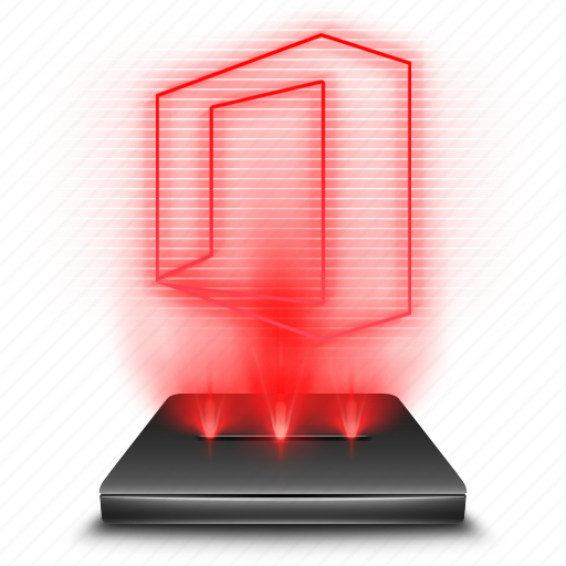 hologram, microsoft, ms, office, red, word icon