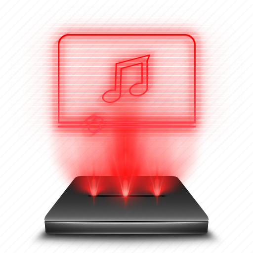 hologram, music, player, red icon