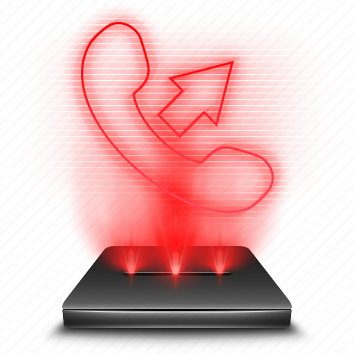 call, communication, contacts, hologram, phone, red icon