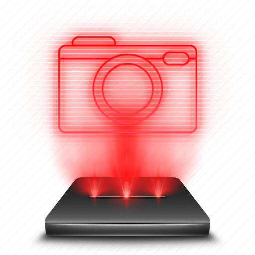 camera, hologram, photo, pictures, red icon