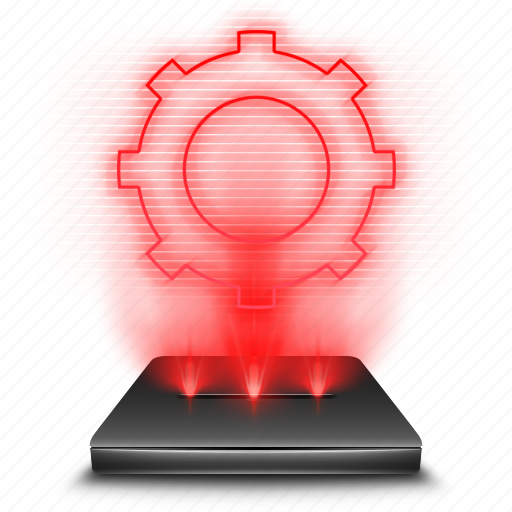 control, hologram, holographic, options, panel, red, settings icon
