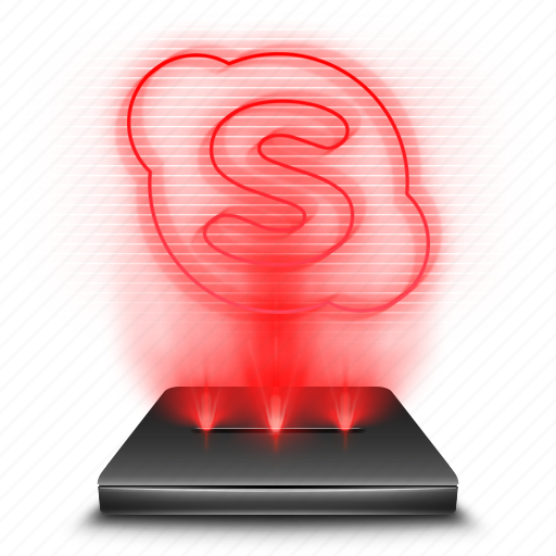 chat, communication, hologram, red, skype icon