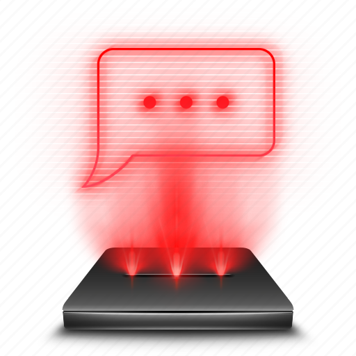 chat, hologram, message, phone, red, sms, texting icon