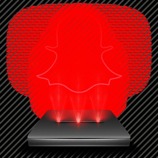 hologram, red, snapchat, social icon