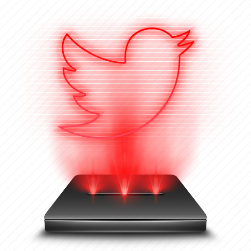 communication, hologram, red, social, tweet, twitter icon