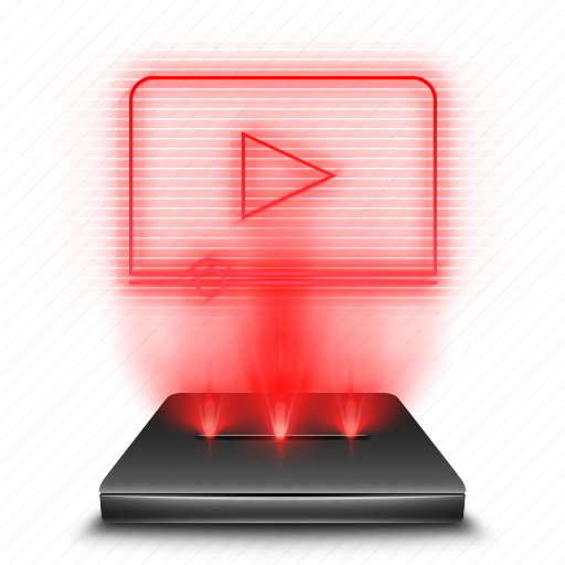 hologram, holographic, player, red, videos icon
