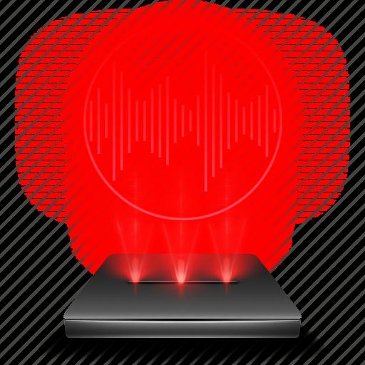 audio, hologram, recorder, red, voice icon