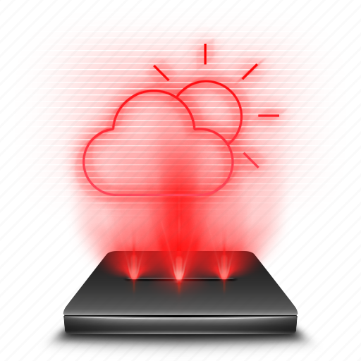 app, cloud, hologram, rain, red, sun, weather icon