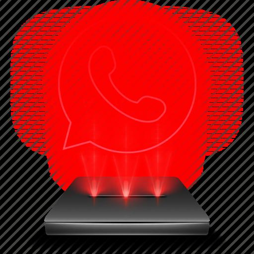 communication, hologram, messenger, red, whatsapp icon