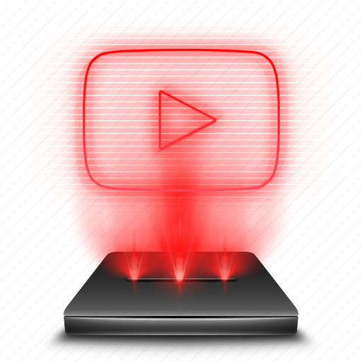 hologram, red, social, stream, youtube icon