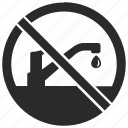 over, stop, supply, toilet, washing, water icon