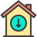 down, home, property, smart icon