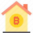 bitcoin, home, property, smart icon