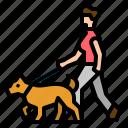 dog, people, pet, walk, walking