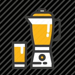 blender, glass, ice, juice, mixer, set icon