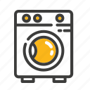cleaning, clothes, electronic, laundry, machine, set, washing icon