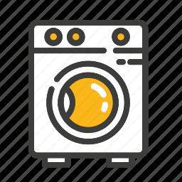 cleaning, clothes, electronic, laundry, machine, set, washing icon
