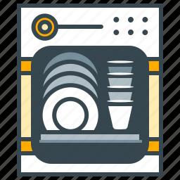 appliance, dishes, dishwasher, home, kitchen, washing up icon