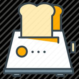 appliance, bread, breakfast, food, kitchen, toast, toaster icon