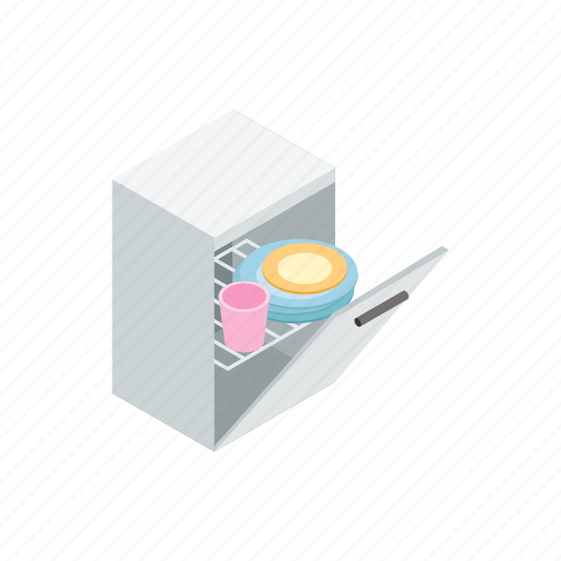 dishwasher, electric, gray, home, isometric, kitchen, sign icon