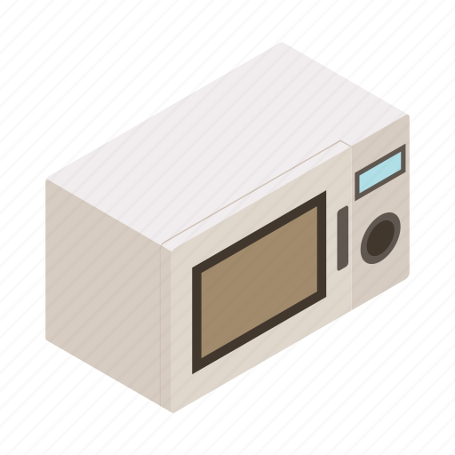 appliance, gray, isometric, microwave, oven, sign, stove icon