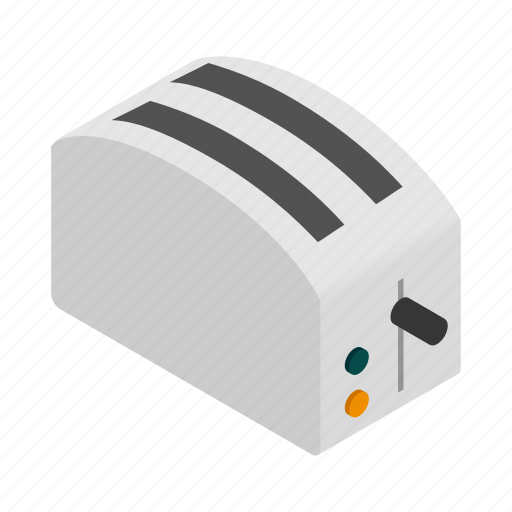 electric, gray, isometric, kitchen, sign, style, toaster icon